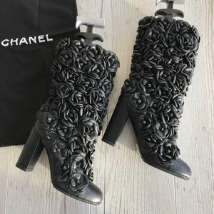 Chanel camellia boots sz 37 price firm!